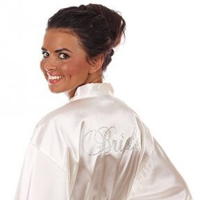 white satin bridal robe