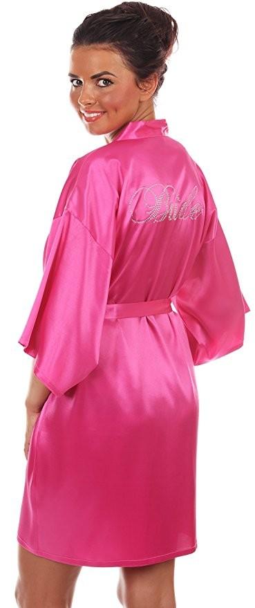 Hot Pink Bridal Satin Robe