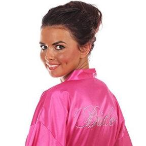 Hot Pink Satin Bridal Robe