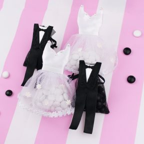 bride dress and tuxedo favour bags
