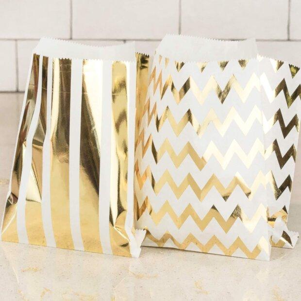 Metallic Stripes Cake Bags