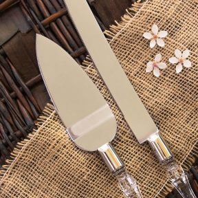 Crystal Look Cake Knife & Server Set