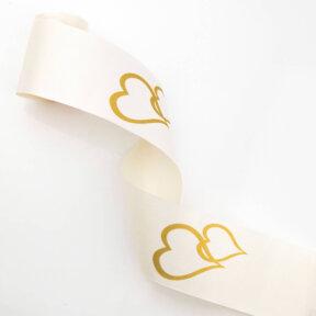 ivory with gold hearts car ribbon