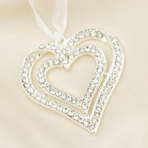 Designer Diamante Hearts Bridal Charm