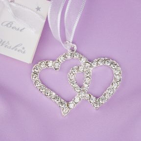 Diamante Love Hearts Bridal Charm