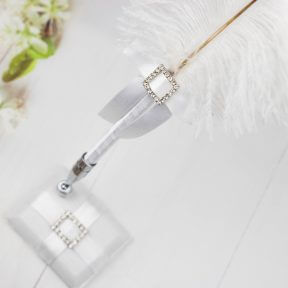 Square Silver Diamante Buckle Feather Pen
