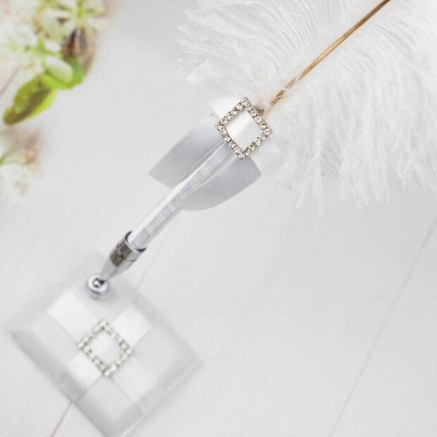 square silver diamante buckle feather pen