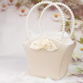 champagne and pearls flower girl basket