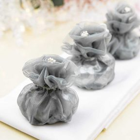 Silver Flower Top Organza Bag