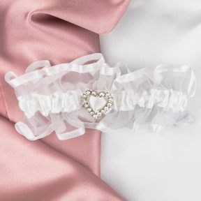 Diamante Love Heart Bridal Garter