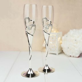 Silver Hearts Champagne Flutes