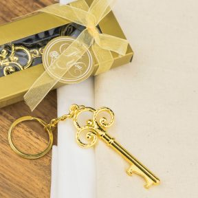Gold Key Bottle Opener with Keyring