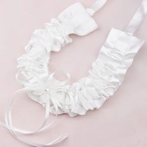 White Satin Horseshoe with Crystal Flower