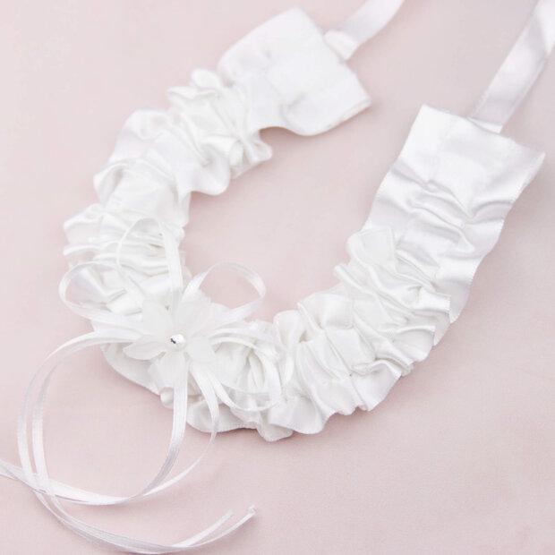 white satin horseshoe with crystal flower