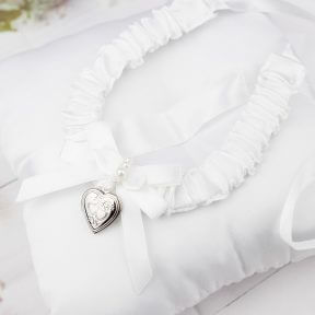 White Satin Horseshoe with Silver Locket