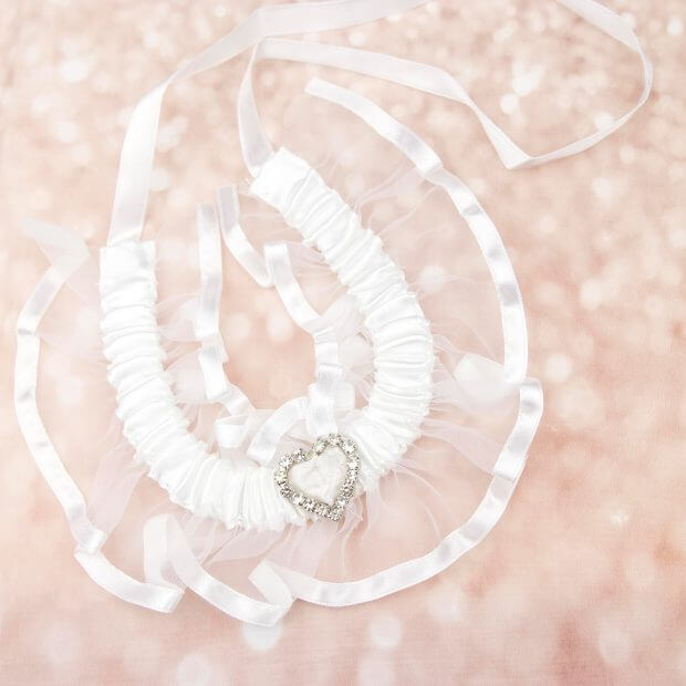 white organza and satin horseshoe with diamante heart