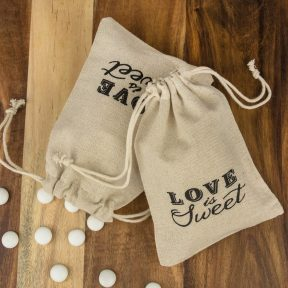 Love is Sweet Drawstring Linen Favour Bag