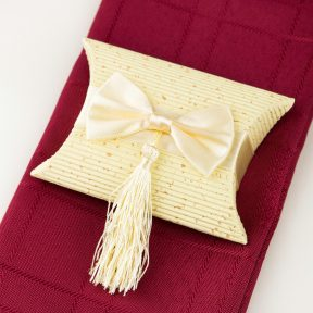 Pillow Box with Satin Bow and Tassel