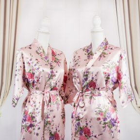 pink satin robe with floral designs