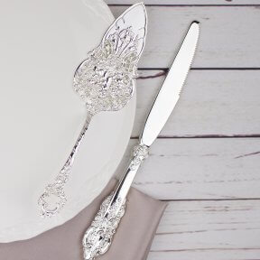 Ornate Silver Wedding Cake Knife and Server Set