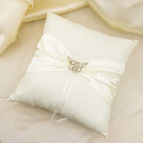 Silver Diamante Butterfly Ivory Satin Ring Pillow