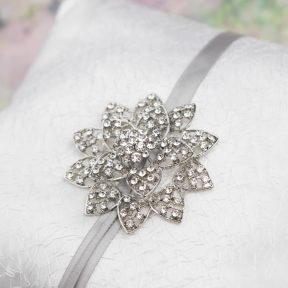 designer diamond flower satin ring pillow