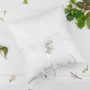 Silver Scrolled Hearts Satin Ring Pillow