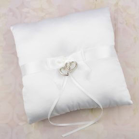 Silver Sweethearts Satin Ring Pillow