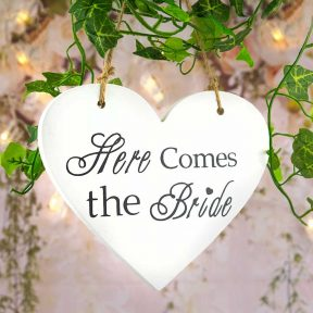 Here Comes The Bride Heart Sign