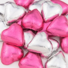 Pink and Silver Chocolate Hearts