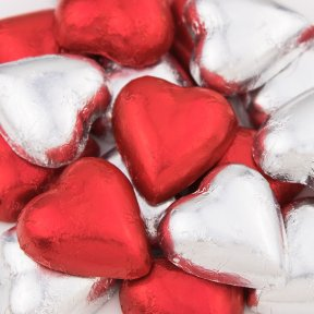 Red and Silver Chocolate Hearts