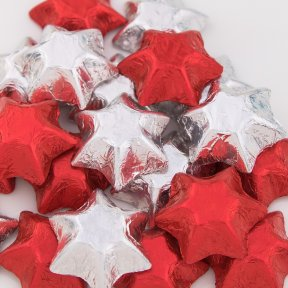Red and Silver Chocolate Stars
