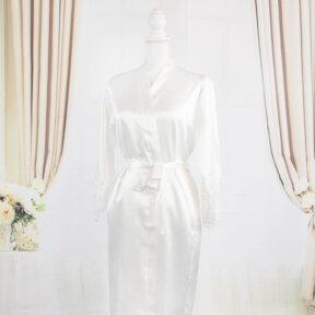 white silk bridal robe