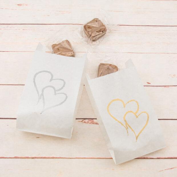 Hearts Wedding Cake Bags