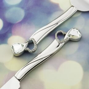 Crystal Hearts Silver Cake Knife & Server Set