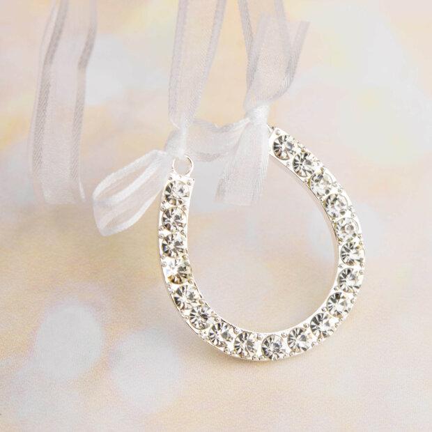 designer diamante horse shoe bridal charm