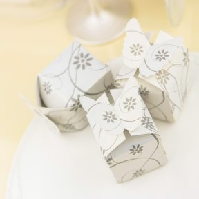 Silver Flower Favour Boxes