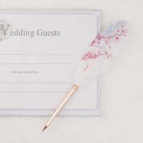 Pink Blossoms Rose Gold Feather Pen