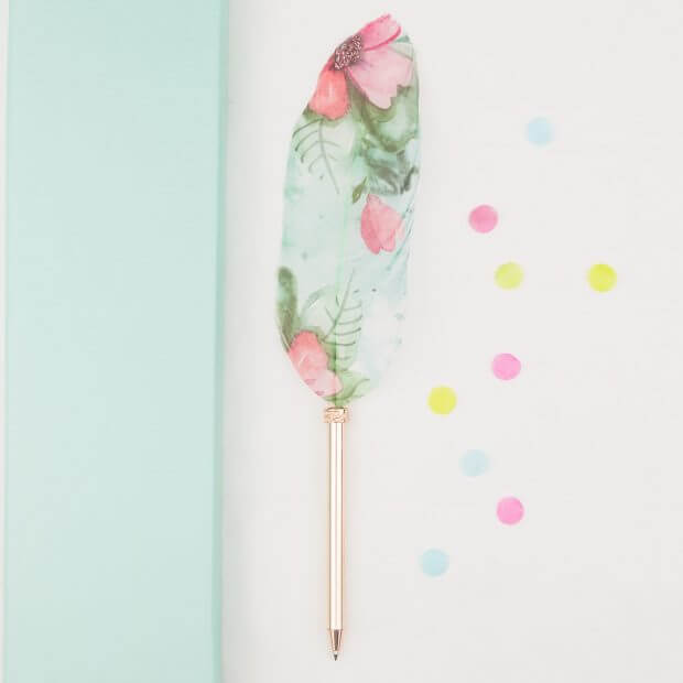 rose gold feather pen with pink and green florals