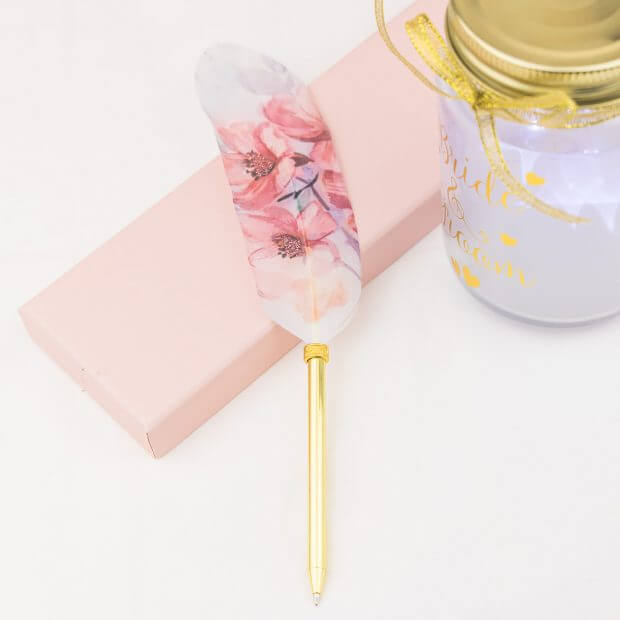 pink magnolias gold feather pen