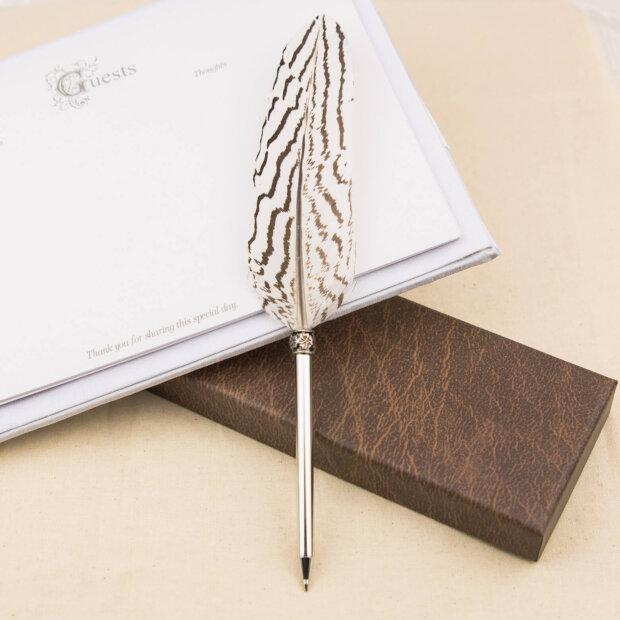 White Watermark Vintage Feather Pen