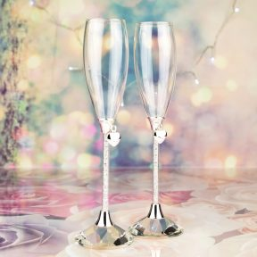Silver Hearts Champagne Flutes with Diamond Stems & Crystal Bases