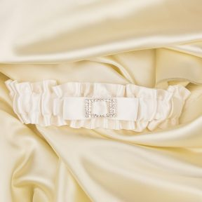 ivory satin bridal garter with a diamante buckle centre