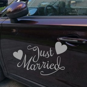 Just Married with Lovely Love Hearts Car Decal