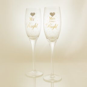 Mr Right and Mrs Always Right Champagne Flutes