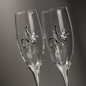 Mr and Mrs Wedding Champagne Flutes