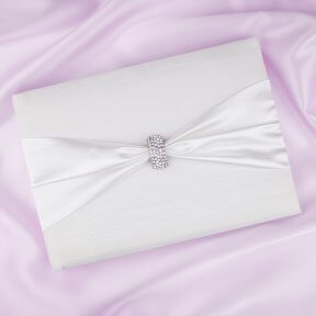 Guest Book with White Satin & Diamante Clasp