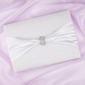 Diamante Clasp White Satin Guest Book