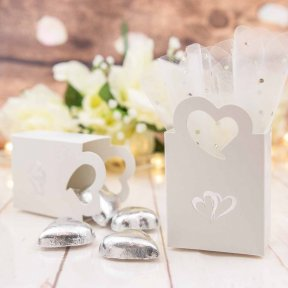 silver double hearts favour box