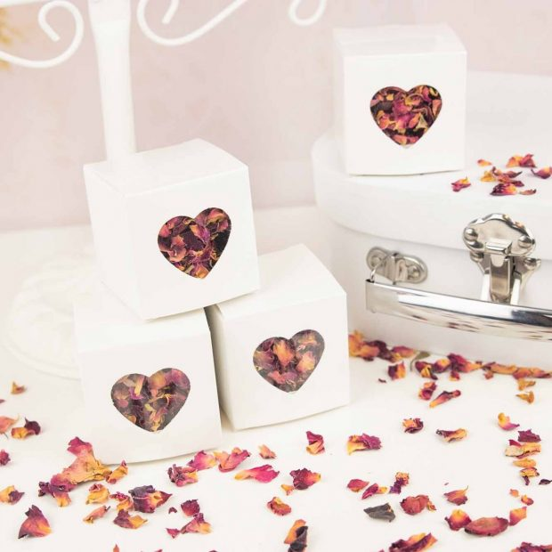 White Heart Confetti Boxes